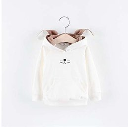rabbit sweatshirt girl NZ - Fashion autumn hooded children clothing Rabbit ears boys girls coat kids spring hoodies Unisex Sweatshirts with hat