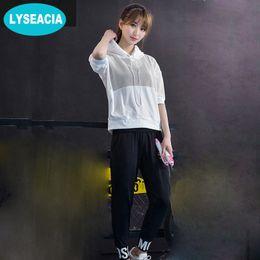 668672df072d5 LYSEACIA Loose Fitness Suit Sportswear for Women Yoga Set Half Sleeve Mesh  Blouse Sport Bra Pants 3 in 1 Sports Suits for Women