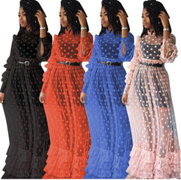 hot sexy see through dresses NZ - fashion hot sexy see through maxi dress women dot full sleeve drape dress ladies hollow out layered dress ALS033
