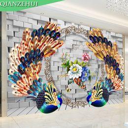 $enCountryForm.capitalKeyWord NZ - wholesale QIANZEHUI,Diamond Embroidery,Round Diamond Peacock TV background wal Full rhinestone Diamond painting cross stitch,needlework
