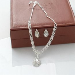 43388440d6adc8 Drop Earrings Make Swarovski Australia - Fashion Water drop style wedding  Necklace Earring suit Made with