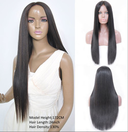 virgin hair wigs for sale Canada - 100% unprocessed new arrival best virgin human hair natural color aaaaaa silky straight long full lace top wig for sale