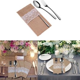 $enCountryForm.capitalKeyWord NZ - 100pcs Burlap Lace Cutlery Pouch wedding Tableware Party decoration holder Bag Hessian Rustic Jute