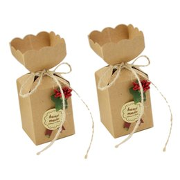 paper cookie boxes UK - 50pcs Small Party Favors Candy Box Chocolate Cookies Paper Gift Bags for Wedding Christmas Birthday Home Decoration Packaging