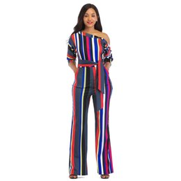 7695282da4a 2018 Fashion Summer Style Plus Size Women Jumpsuits And Rompers Bevel  Shoulder Long Pants Casual Striped Overalls PV127