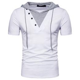 Wear Hip Hop Shirt Men Canada - False Two Casual T-Shirt Eur Size Short Sleeves Hooded Men Hip Hop Wear High Street Clothes S-2XL
