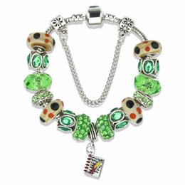 $enCountryForm.capitalKeyWord Australia - Least design Charms Bracelet & Bangle with green glass bead and DIY book pendant for women gift Flannelette bags packing KM151