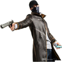 watch man movie NZ - Malidaike Watch Dogs Leather Jacket Cosplay Costume Trench Coat Aiden Pearce Halloween Cos Outfit