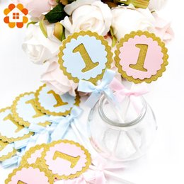 $enCountryForm.capitalKeyWord NZ - 10pcs lot Cake Toppers Round blue&pink Birthday Party Decoration 1 year first kids Birthday Party DIY Cupcake Topper Supplies