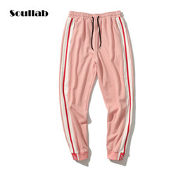Discount new swag clothing pink black side stripe men women unisex bottoms jogger pants old school street fashion chic kpop brand trousers swag clo