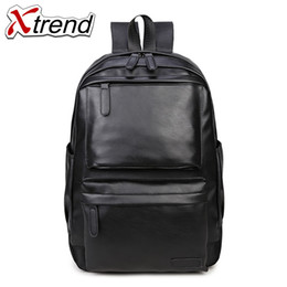 Laptop Cushion Australia - 2018 Xtrend PU Leather Backpack Shockproof Air Cell Cushioning Bag Laptop Tablet Backpack Male & Female Travel Waterproof Bags