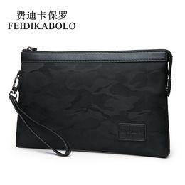 Chinese  FEIDIKABOLO Waterproof Nylon Men Wallets Handy Bags Mens Clutch Black Camouflage wallet Male Purse Cheaper Dollar Price Carteras manufacturers