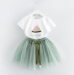 Discount tutus boutique - Children Watermelon print outfits girls top+bow tutu skirts 2pcs set 2018 summer Baby suit Boutique kids Clothing Sets 2