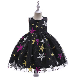 tulle embroidery dress UK - New style black dress for children Star embroidered princess ball gown fashion for kids on stage performance wear