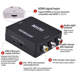 hd tv cable boxes Australia - AV to HDMI HD Video 1080P Audio Converter Box Adapter For PC Laptop TV US Computer HDTV Laptop Projector in audio video Cable