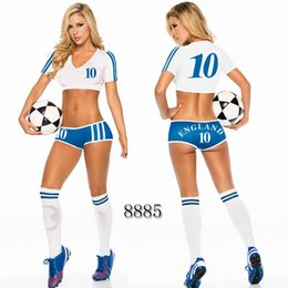 Women Costume Cheerleader UK - Sexy Lingerie Uniform Soccer Player Cheerleader World Cup Football Girl party dress Fancy Dress Costume SM8885