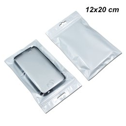 Phones comPonents online shopping - 12x20 cm Front Clear Zip Lock Digital Components Storage Bags Zipper Poly Plastic Packaging Bags for Phone Case Cover with Hang Hole