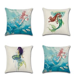 Knit fabric prints online shopping - Flax Fabric Watercolor Painting Pillow Case Beautiful Mermaid Design Cushion Cover Multi Color Pillowcase For Living Room Fun Decor kha Z