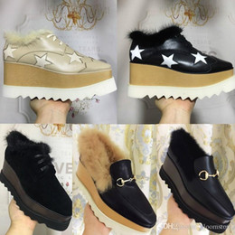 Wholesale Hot Sale Stella Mccartney Fur Creepers Shoes Leather Women Buckle Platform Wedges Platform Oxfords Shoes Boost Sneakers Colors