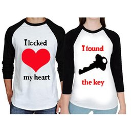couple long shirts 2019 - Heart Key Casual Patchwork T-shirt Women Couples Long Sleeve Tops Lovers Girlfriend Letter Printed Shirts OOA4546 cheap