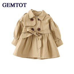 1126276a1 GEMTOT Spring Autumn England cotton baby girl windbreaker Solid color  fashion long coat for 0-3 Yrs Infants and young children