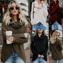 fd22a5bb3b Womens Acrylic Cowl Sweater Ladies Casual Loose TopsNeck Knitted Long  Sleeve Jumper