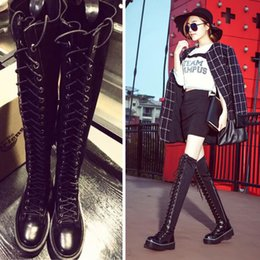 woman over knee flat boots NZ - Lace Up Over Knee Boots Women Boots Flats Shoes Woman Flat Heel Rubber PU Leather Boots Botas Winter Thigh High Boot