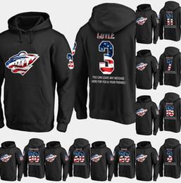 696b27304 Mens Minnesota Wild USA Flag Hoodie 3 Charlie Coyle 17 Marcus Foligno 23  J.T. Brown 32 Alex Stalock Hockey Sweatershirt Jerseys Black S-XXXL