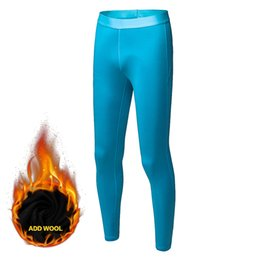 Wholesale Wool Tights UK - Winter warmer Add Wool Elastic Running Pants Compression Tight Skinny Suits Fitness Gym Exercise Training Sports Yoga Leggings