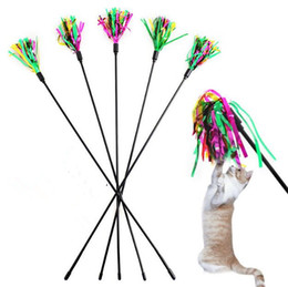 interactive bell UK - Colorful Pet Cat Playing Toys Bell Feather Dangle Kitten Rod Toy Interactive Funny Hot Sale 05