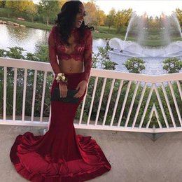 $enCountryForm.capitalKeyWord Australia - Dark Red High Collar Lace Sheer Top Prom Dresses 2018 Black Girls Long Sleeves Applique Sequin Mermaid Evening Gowns