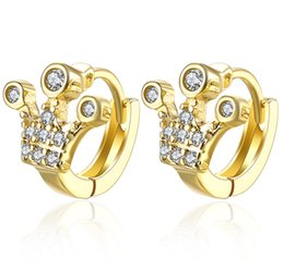 gold crowns for queens Australia - Designer Fashion Jewelry Imperial Crown Crystal Stud Earring Queen Princess Earrings For Women Pendientes Brincos Wholesale