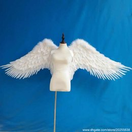 Costumes Parties Australia - Costumes high quality white angel feather wings Lady's cosplay supply fairy wings Beautiful wedding Birthday party deco props