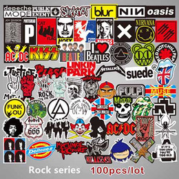 Wall Stickers Rock Australia - 100pcs Rock and Roll Music Band Punk Guitar Sticker Pumpkin Ghost Car Skateboard Motorcycle Bicycle Luggage Laptop Bumper Wall Decals Pac