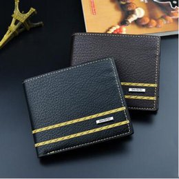 European Coins NZ - Men's Vintage Fashion Wallets Short Style Stripe PU Leather Purse European And American Style Coin Wallets Card Holder