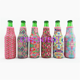 China Wholesale Blanks Lilly Bottle Wrap Neoprene Beer Cooler Crown Jewel Coral Flamingo Rose Mucho Printing Can Cover LX0332 supplier jewel cover suppliers