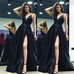 172731fbd 2019 Black Deep V-Neck A-Line Prom Gowns Spaghetti Straps High Slits Long  Backless Court Train Satin Formal Evening Dresses New