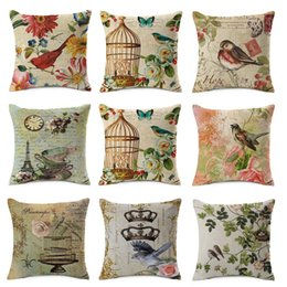 Wholesale Flower Birds Cushion Cover Retro Style Birdcage Eiffel Tower Crown Pillow Cover Thin Linen Pillow Cases X45cm Bedroom Sofa Decoration