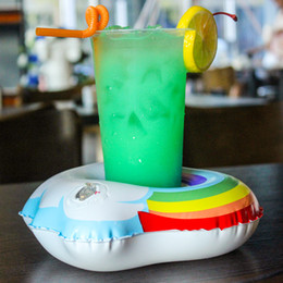 wholesale pool toys sale Australia - Inflatable Cloud Rainbow Drink Cup Holder Send Inflator Summer Hot Sale Cup Seat Inflatable Beach Pool Float Coaster Toys