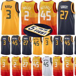 Utah Jazzs 45 Donovan Mitchell Jersey 27 Rudy Gobert 3 Ricky Rubio 2 Joe  Ingles 12 John Stockton 32 Karl Malone 24 Grayson Allen Jerseys b033e1367