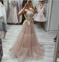 $enCountryForm.capitalKeyWord NZ - Evening dress Long Dress Sleeveless Applique Tulle Scoop Ruffle Tulle A-Line In 2018 the new clothes popular