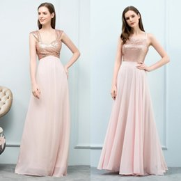 Full Length Robe Soiree Canada - 2018 Real Image Bridesmaid Full Sequined Cap Sleeve Dresses Chiffon Bride Formal Party Dress Backless Prom Gowns Robe De Soiree CPS768