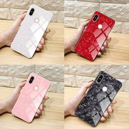 Discount for huawei honor 6x back case - Luxury Marble Conch Pattern Tempered Glass Back TPU Bumper Case For XiaoMi 8 SE 6X A2 RedMi Note 5 Pro 5A Huawei P9 P10