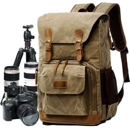 China amera Video Bags Batik Canvas Waterproof Photography Bag Outdoor Wear-resistant Large Camera Photo Backpack Men for Nikon Canon  Sony Fuj... cheap canvas camera straps suppliers