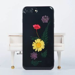 iphone colorido venda por atacado-Ultra Slim Soft TPU Silicone Casos para o iPhone Colorido Colored Pressed Flower Design Jelly Case Protetora