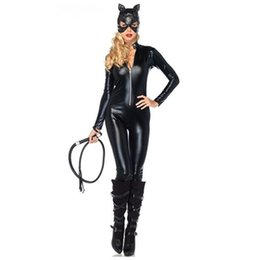 $enCountryForm.capitalKeyWord NZ - New Arrival Two-Faced Cat Women Leather Jumpsuit Night Prowler Sexy Catwoman Catsuit Black Cat Halloween Costume Adult Costume Y1892611
