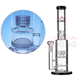 water bongs inline perc NZ - K40 double birdcage perc smoking pipe pyrex glass water pipe inline diffused hbking bong helix flare water pipe mathematix glass