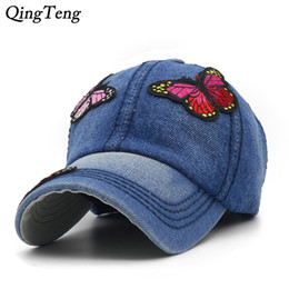 baseball cap patches 2019 - Cap Women Summer Butterfly Embroidered Patch Baseball Caps Retro Denim Casual Sun Hat Strapback Adjustable Casual Girl G