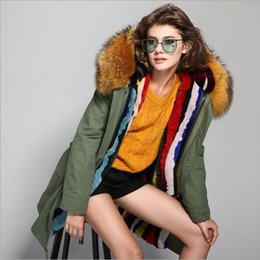 detachable rabbit collar Canada - Jazzer brown fur trim 100% multicolour rabbit fur lining army green canvas jackets snow fur long parkas