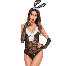 Women's Sexy lingerie role-playing uniform temptation Rabbit lingerie strap-up perspective t-shirt lace Ladies pajamas free shipping on Sale